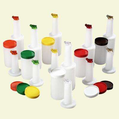 Complete Quart Stor 'N Pour System Polyethylene Container and Neck in White with Spout and Lid Assorted (Case of 12)
