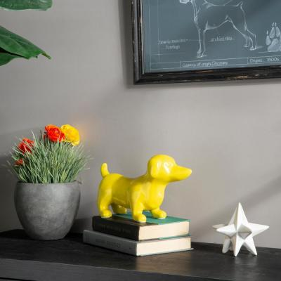 6.25 in. H Dog Decorative Figurine in Yellow Gloss Finish