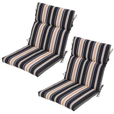 Caprice Stripe Outdoor Dining Chair Cushion (2-Pack)