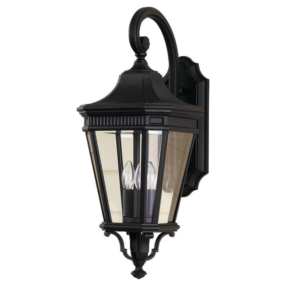 Cotswold Lane 3-Light Black Outdoor 23.75 in. Wall Lantern Sconce