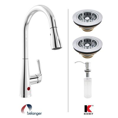 Single-Handle Pull-Down Sprayer Kitchen Faucet Kit with Soap Dispensor and Two Strainers in Polished Chrome