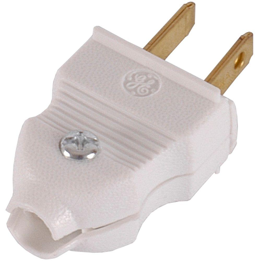GE 15 Amp Quick Wire Plug, White (2-Pack)