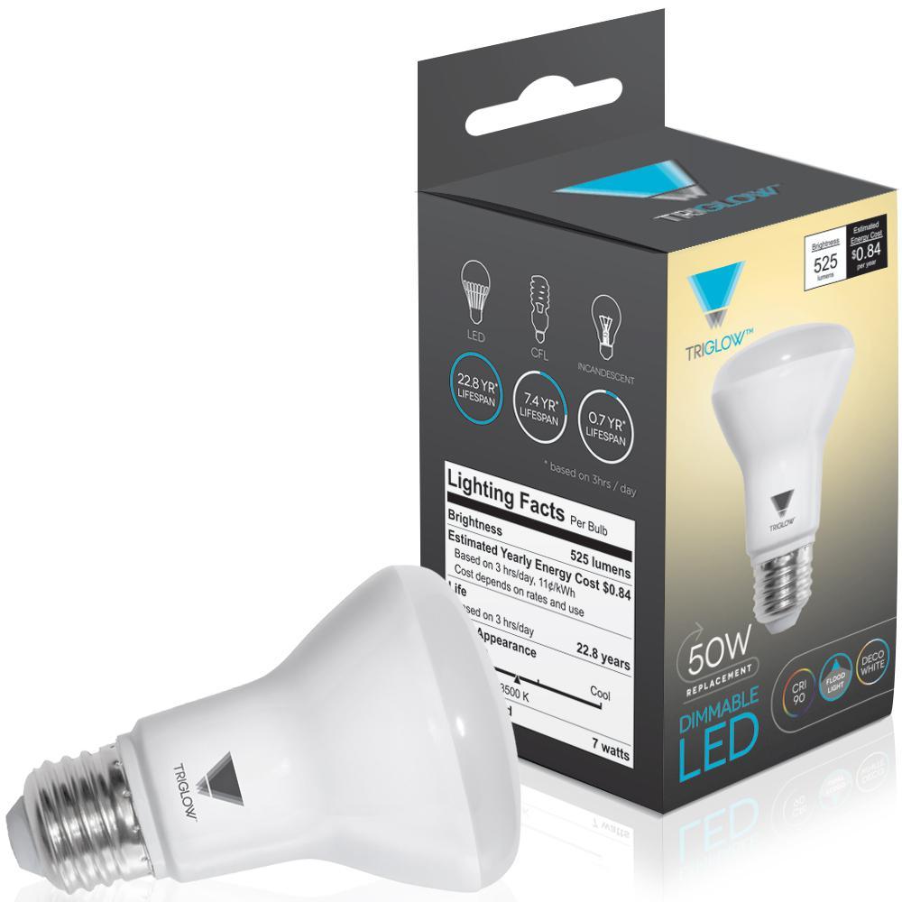 50-Watt Equivalent BR20 Dimmable LED Light Bulb Deco White