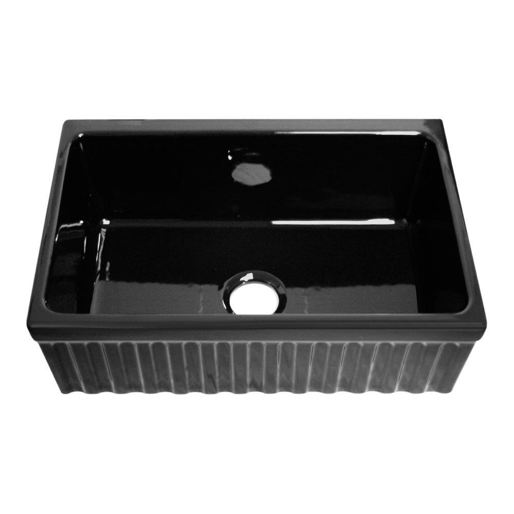 Whitehaus Collection Quatro Alcove Reversible Farmhaus Series Apron Front Fireclay 30 in. Single Bowl Kitchen Sink in Black