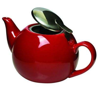 3-Cup Ceramic Teapot with Stainless Steel Infuser in Red