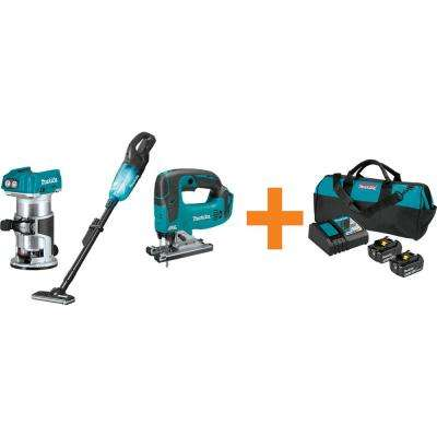 18-Volt LXT Brushless Variable Speed Compact Router, 18V LXT Jig Saw and 18V LXT Vacuum with bonus 18V LXT Starter Pack