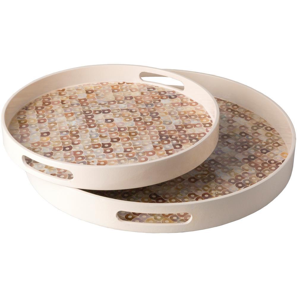 Aquay Cream 2-Piece Decorative Tray Set
