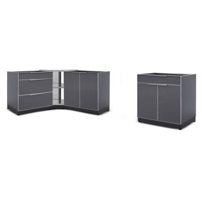 Slate Gray 4-Piece 112 in. W x 36.5 in. H x 24 in. D Outdoor Kitchen Cabinet Set without Counter Tops