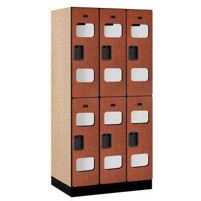 S-32000 Series 36 in. W x 76 in. H x 21 in. D 2-Tier See-Through Designer Wood Locker in Cherry
