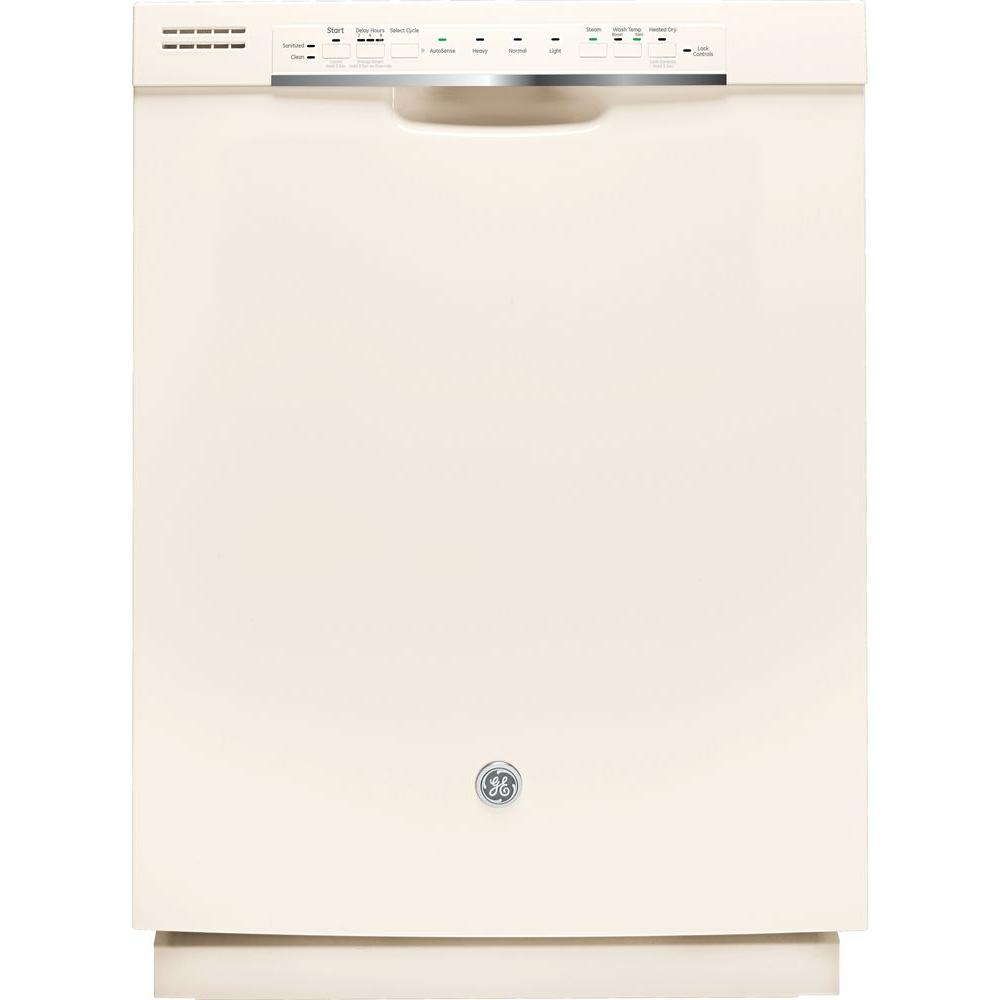 GE Front Control Dishwasher in Bisque with Stainless Steel Tub and Steam PreWash