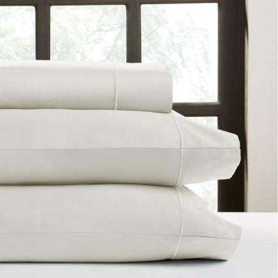 Ivory T520 Solid Combed Cotton Sateen Queen Sheet Set