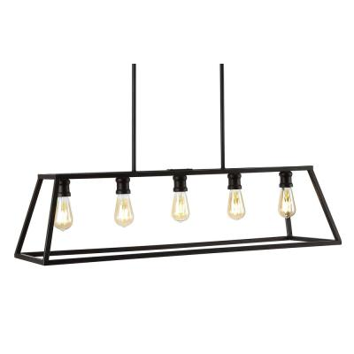 "Floyd 38"" 5-Light Adjustable Iron Farmhouse Vintage LED Dimmable Pendant, Oil Rubbed Bronze"