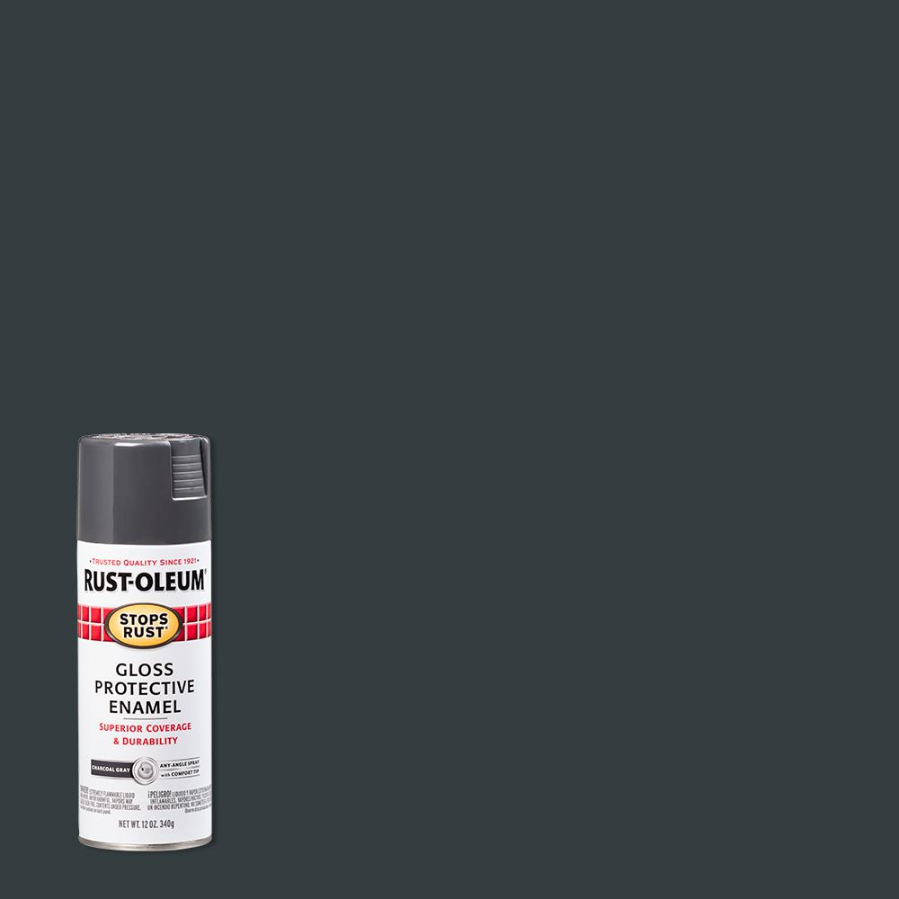Rust-Oleum Stops Rust 12 oz. Protective Enamel Gloss Charcoal Gray Spray Paint