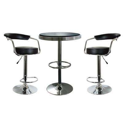 Retro Style 37 in. Adjustable Height Bar Table Set in Black with Padded Chairs(3-Piece)
