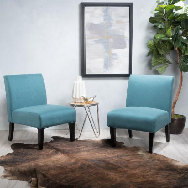 Noble house kassi dark teal fabric accent chairs set of 2 - Dark teal accent chair ...