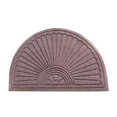 A1HC Half-Moon Classic Brown 24 in. x 36 in. Eco-Poly Scraper Mat with Anti-Slip Fabric Finish and Tire Crumb Backing