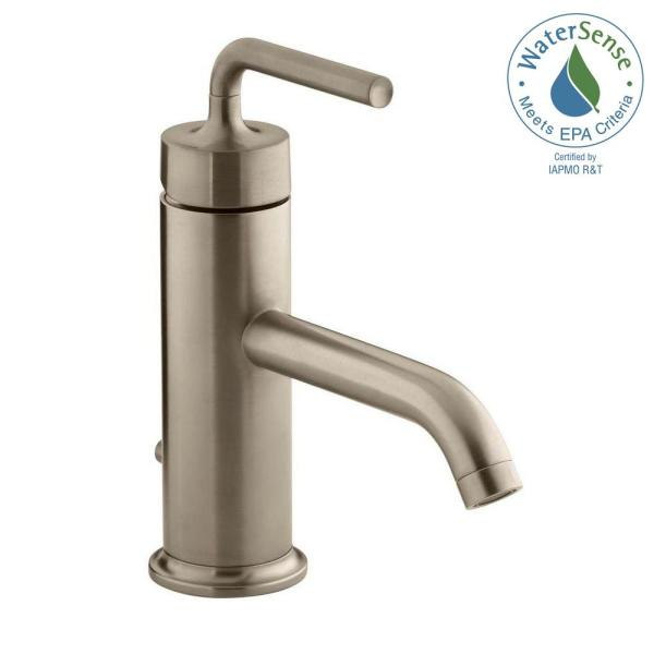 Purist Single-Hole Single Handle Bathroom Faucet with Straight Lever Handle in Vibrant Brushed Bronze