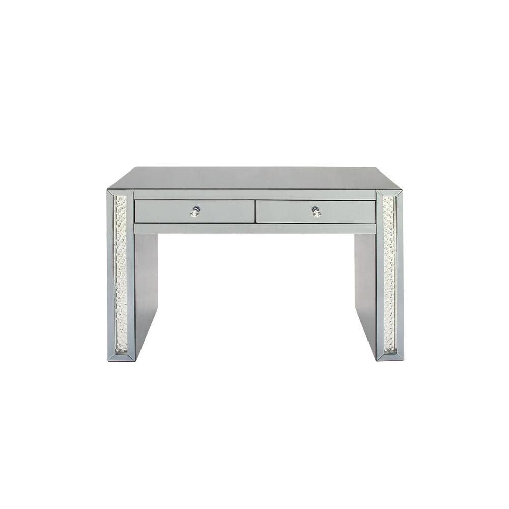 Reflective Glass And Mirror 2 Drawer Console Table