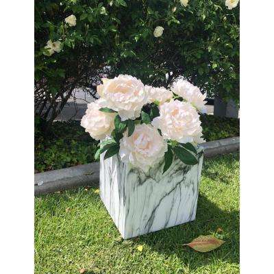 Large 16 in. x 16 in. x 16 in. Lightweight Concrete Modern Marble Texture Square Planter