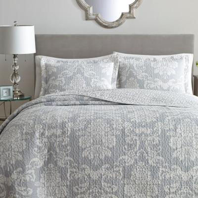 Venetia 3-Piece Grey King Quilt Set