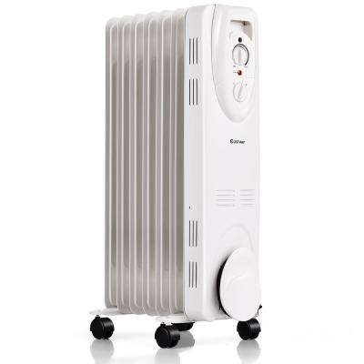 Portable 1500-Watt Electric Oil-Filled Space Heater with Adjustable Thermostat