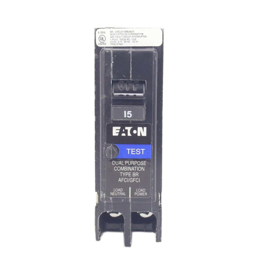 Eaton Br 15 Amp 1 Pole Dual Function Arc Fault Ground Plug Circuit Breakers