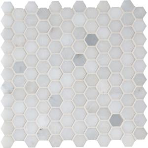 Greecian White Mini Hexagon 11.61 in. x 11.81 in. x 10 mm Polished Marble Mesh-Mounted Mosaic Tile (0.95 sq. ft.)
