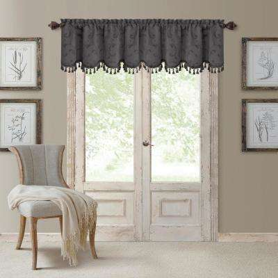 Mia 52 in. W x 19 in. L, Polyester Blackout Woven Window Curtain Drape Valance in Gray