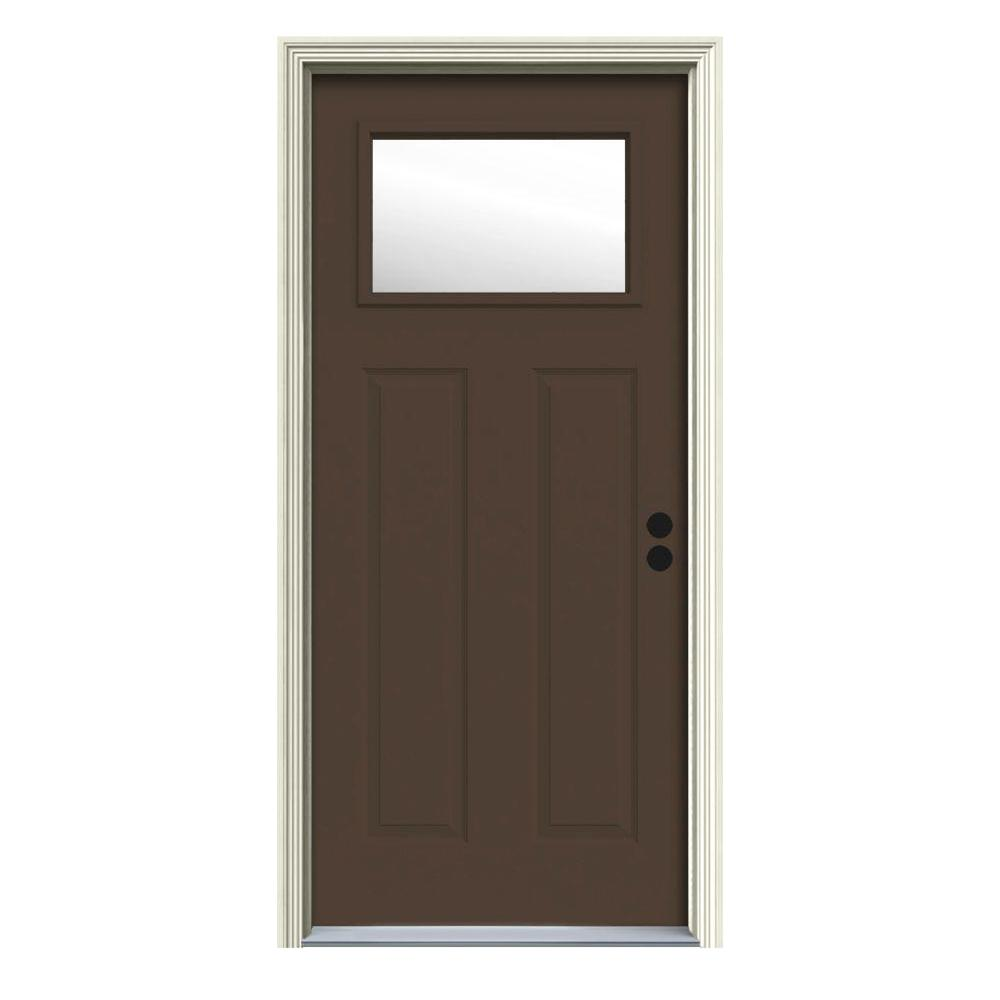 30 in. x 80 in. 1 Lite Craftsman Dark Chocolate Painted