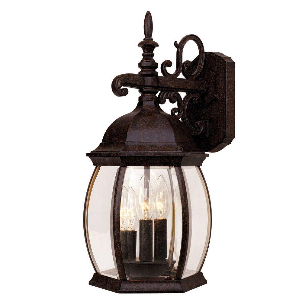 Large Rustic Finish Lantern Wall Mounted Light Sconce: Illumine 3 Light Wall Mount Lantern Rustic Bronze Finish