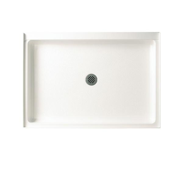 34 in. x 42 in. Solid Surface Single Threshold Center Drain Shower Pan in White