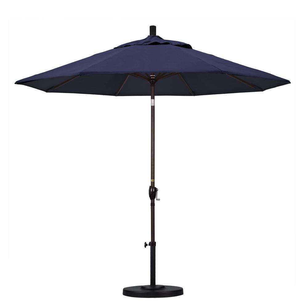 9 ft. Bronze Aluminum Pole Market Aluminum Ribs Push Tilt Crank Lift Patio Umbrella in Navy Sunbrella