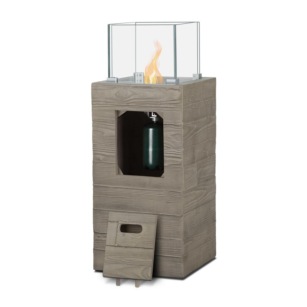 Real Flame Board Form 14.75 in. Rectangular Fiber-Concrete Propane Fire Column in Concrete Gray