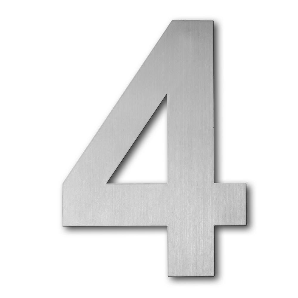 QT Home Decor 4 in. Brushed Stainless Steel Large Floating Modern House Number 4
