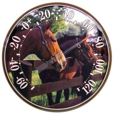 12.5 in. Horses at Fence Analog Thermometer