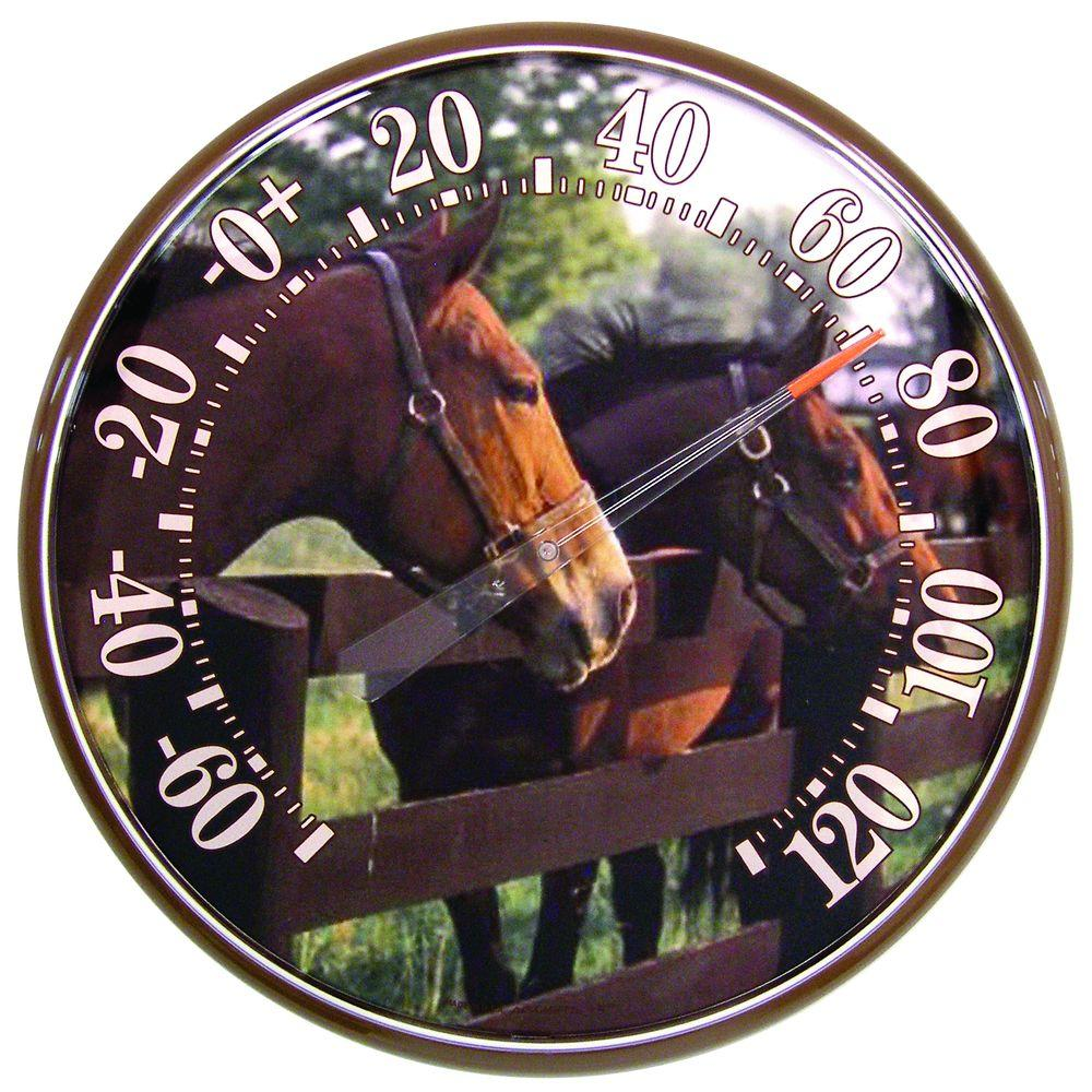 acurite 12 5 in horses at fence analog thermometer 01917 the