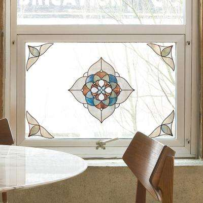 12 in. x 12 in. Venice Amber Medallion Decorative Window Film
