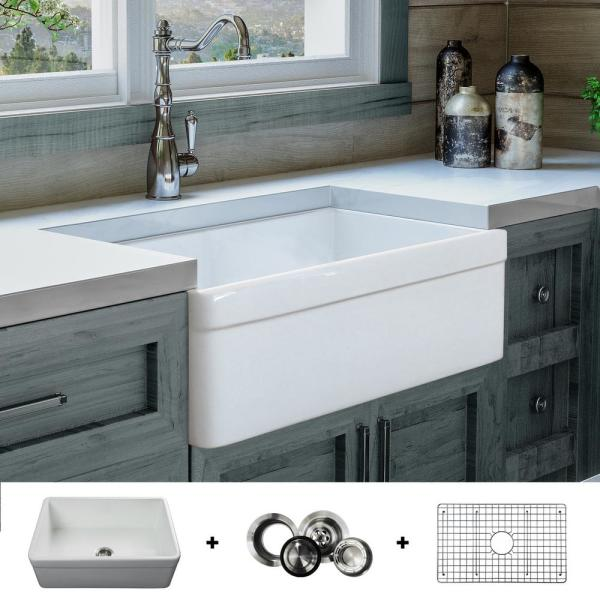 Fossil Blu Luxury 30 Inch Fireclay Modern Farmhouse Kitchen Sink In White Single Bowl With Belted Front Includes Drain Fsw1004 The Home Depot