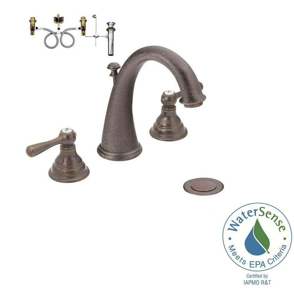 Moen kingsley 8 in widespread 2 handle high arc bathroom - Moen rubbed bronze bathroom faucets ...