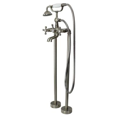Cromwell 2-Handle Freestanding Floor Mount Tub Faucet with Handshower in Brushed Nickel