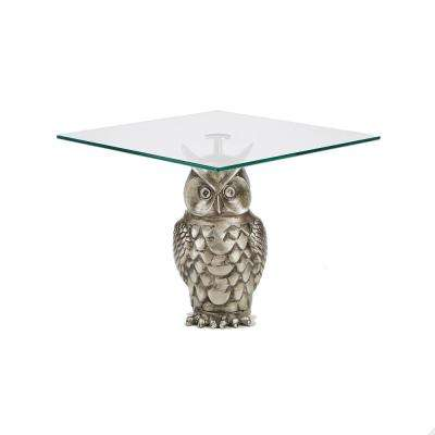 1-Tier Silver Metal Owl Cake Stand with Tree Tower Display, Stand Tiered Serving Dessert Display Tray