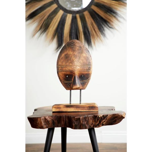Litton Lane Burnished Brown Carved Tribal Mask Reclaimed Wood Sculpture on
