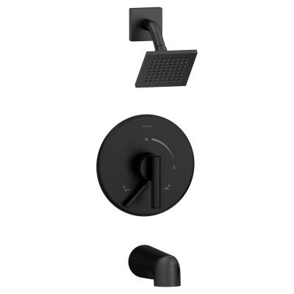 Dia 1-Handle Tub/Shower Valve Trim Kit in Matte Black (Valve not Included)