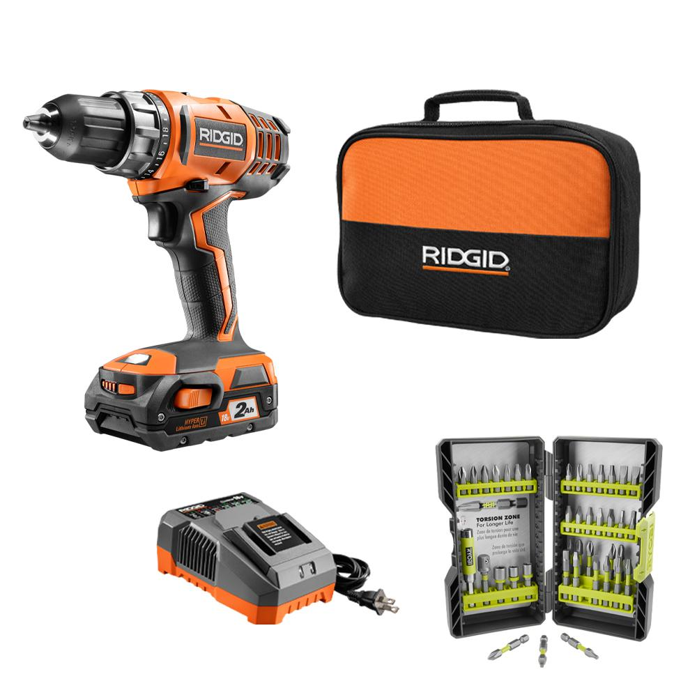 RIDGID 18-Volt Cordless 2-Speed 1/2 in. Compact Drill/Driver Kit and Black Oxide Drill Bit Set (21-Piece) was $219.97 now $79.97 (64.0% off)