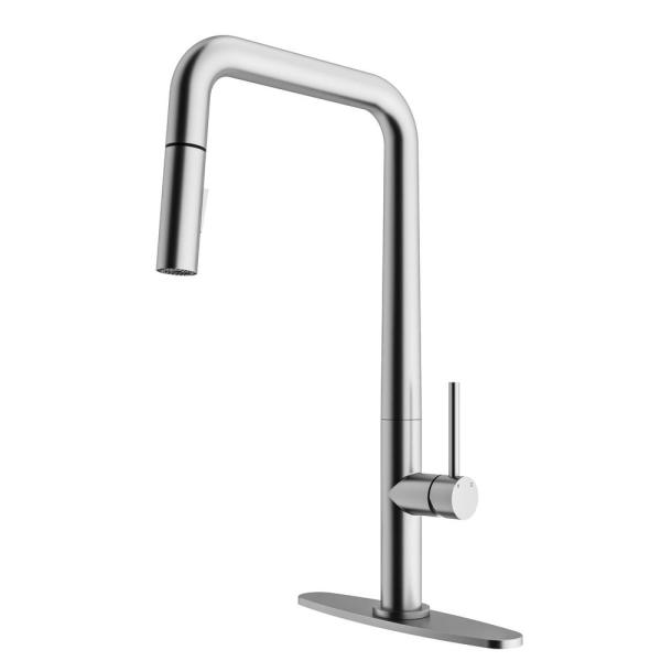 Parsons Single-Handle Pull-Down Sprayer Kitchen Faucet with Deck Plate in Stainless Steel