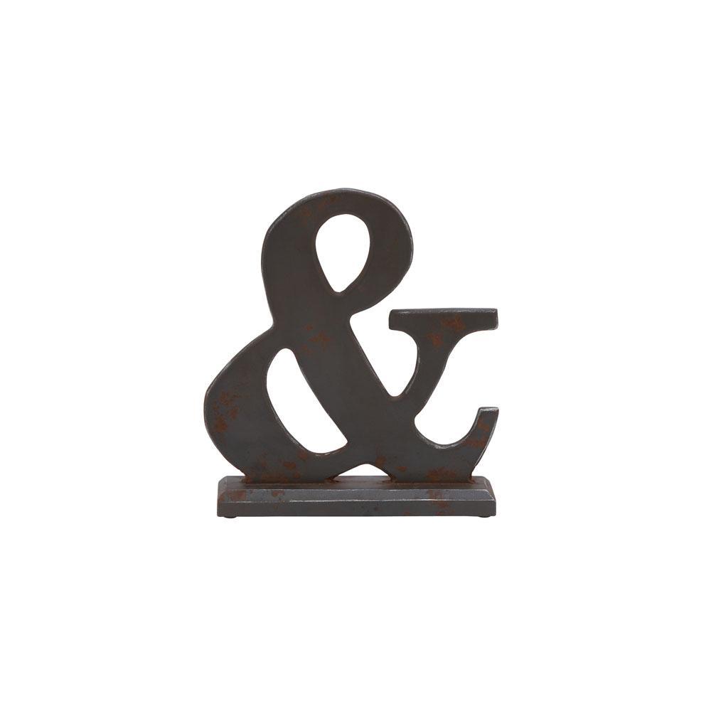 CosmoLiving by Cosmopolitan Deep Espresso Ampersand Wood Sculpture, Dark Grey