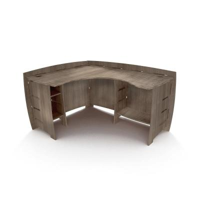 60 in. L-Shaped Gray Driftwood Computer Desk with Open Storage