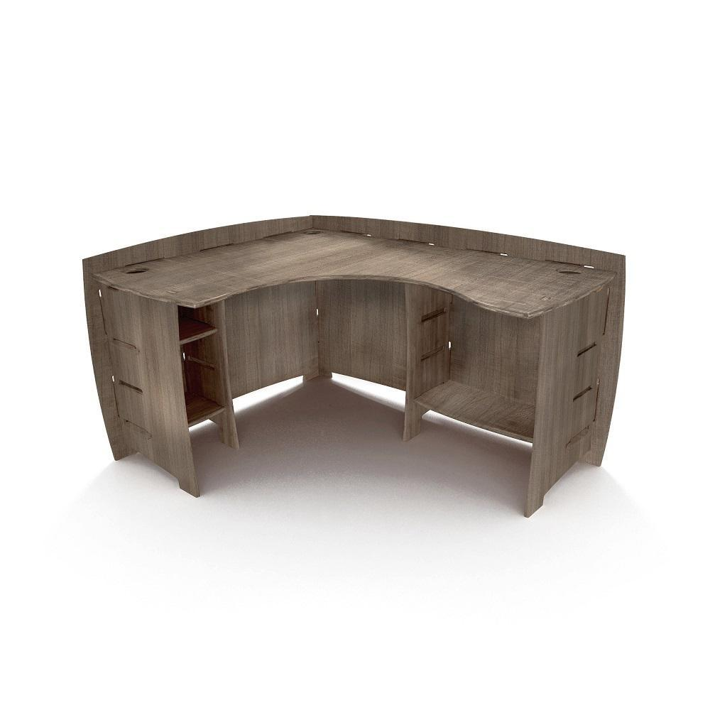 sale retailer 0457b d07a8 60 in. x 47 in. Grey Driftwood Corner Desk Solid Wood with No Tools Assembly