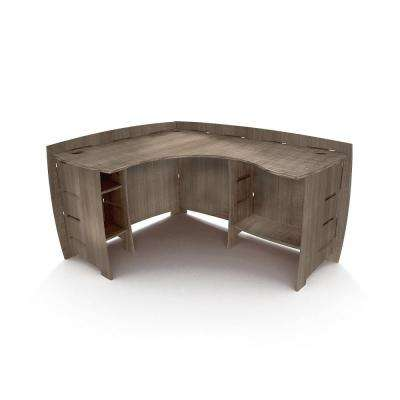60 in. x 47 in. Grey Driftwood Corner Desk Solid Wood with No Tools Assembly