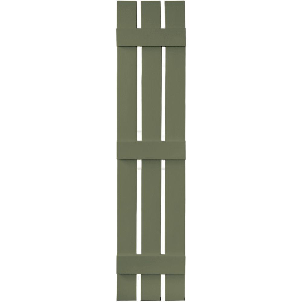 Builders Edge 12 in. x 63 in. Board-N-Batten Shutters Pair, 3 Boards Spaced #282 Colonial Green